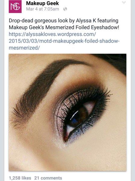 MakeupGeek Cosmetics Mesmerized cruelty free MUG foiled shadows MOTD brown eyes makeup bblogger brows Anastasia Beverly Hills Dipbrow Dark Brown