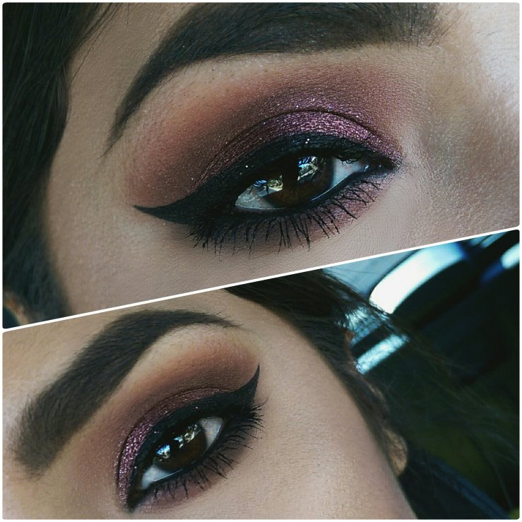 Spring makeup MakeupGeek Makeup Geek Cosmetics foiled shadow Showtime MOTD cruelty free winged liner brown eyes