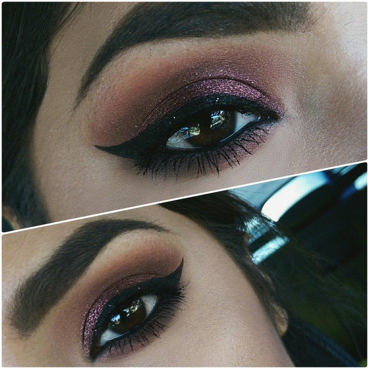 Spring makeup MakeupGeek Makeup Geek Cosmetics foiled shadow Showtime MOTD cruelty free winged liner brown eyes