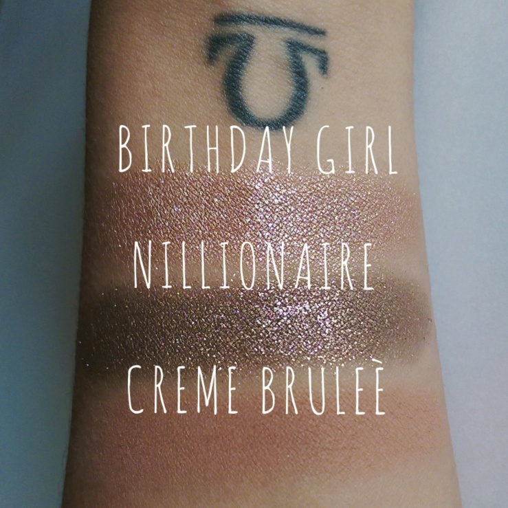 ColourPop Cosmetics Birthday Girl Limited Edition ColourPop Nillionaire MakeupGeek Creme Brulee Best Cruelty-Free Makeup Swatches