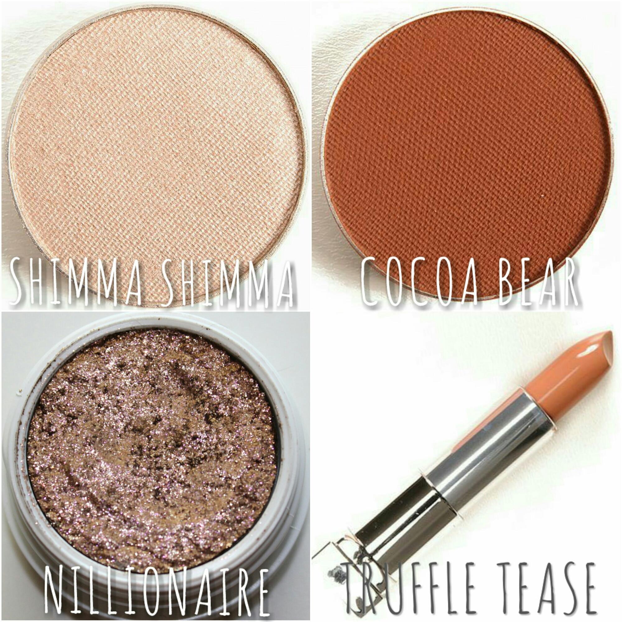 MakeupGeek Cocoa Bear MakeupGeek Shimma Shimma ColourPop Nillionaire Maybelline Truffle Tease MOTD