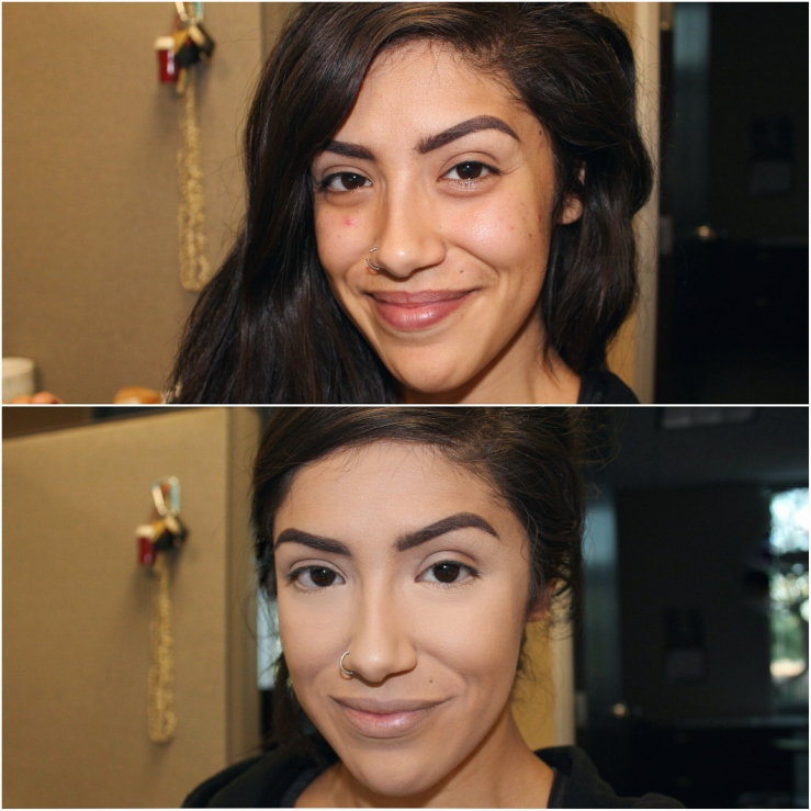 Before and After Makeover Foundation Routine Maybelline Matte + Poreless Foundation #230 Natural Buff Ardell Brow Gel Dark Brown MOTD Drugstore Foundation Best Drugstore Foundation