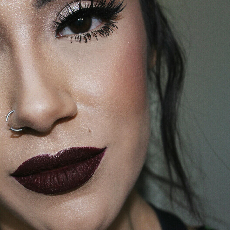 Dark Red Lips Makeup