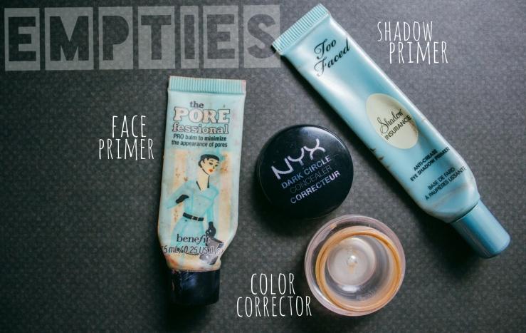 Too Faced MOTD Nyx Cosmetics Dark Circle Concealer Makeup BBLOGGER ohalyssakblog Shadow Insurance Porefessional Primer Benefit Cosmetics Empties Makeup Favorites